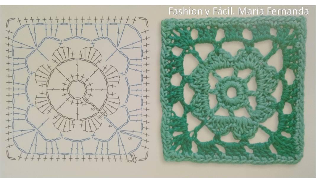 Lujo Granny Flor Patrón De Crochet Cuadrado Modelo - Manta de Tejer ...