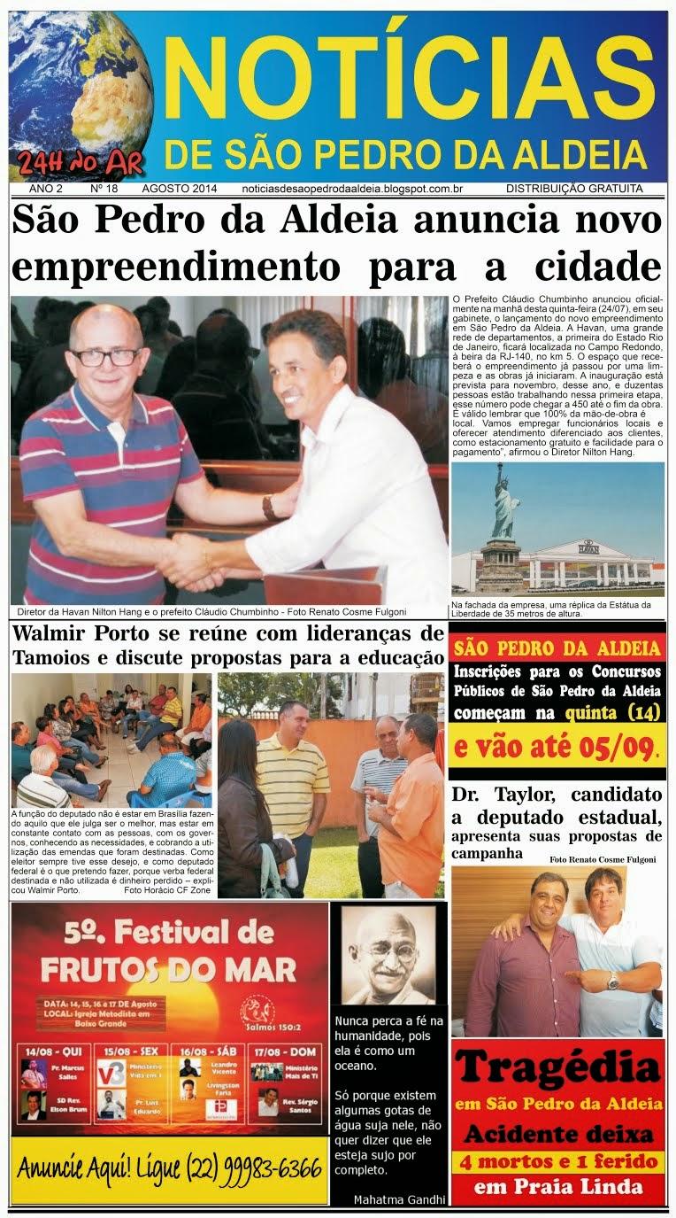 JORNAL NOTÍCIAS DE SÃO PEDRO DA ALDEIA EDIÇÃO DE AGOSTO 2014