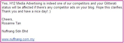 H12 Media Advertising jejas status glitterati Nuffnang atau tidak?, glitterati nuffnang