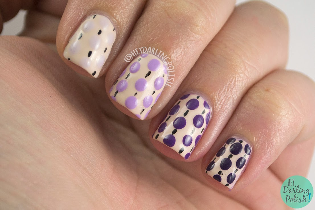 nails, nail art, nail polish, polka dots, dots, ombre, hey darling polish, purple, oh mon dieu part deux, pattern