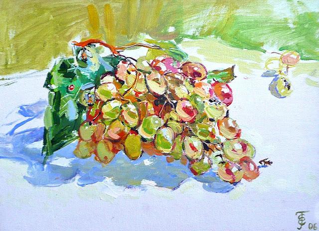 Гроздь винограда холст масло 30х50 2006г