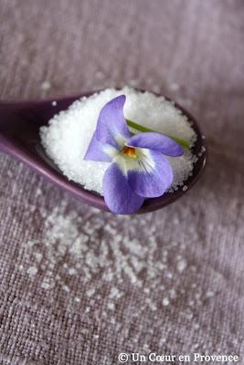 Fleur de mars posée sur une cuillère emplie de sucre