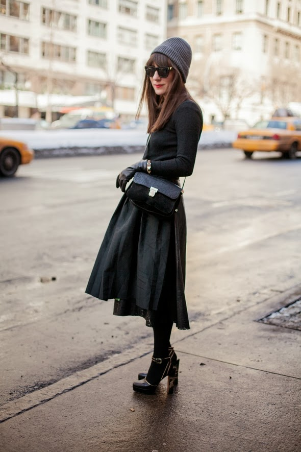 winter hats, black top black skirt black shoes chunky heels black tights bangs new york fashion street style women 2014