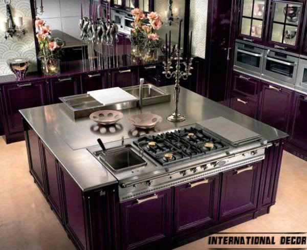 Art Deco kitchen designs and purple furniture