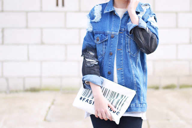 Denim jacket, zara clutch, asos, wool sumper, belgium