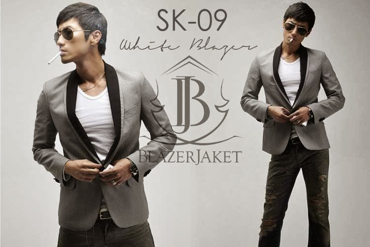 blazerjaket Slim Fit Korean Blazer abu-abu murah