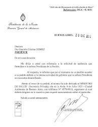 Respuesta de la  Presidenta de la Nación CFK