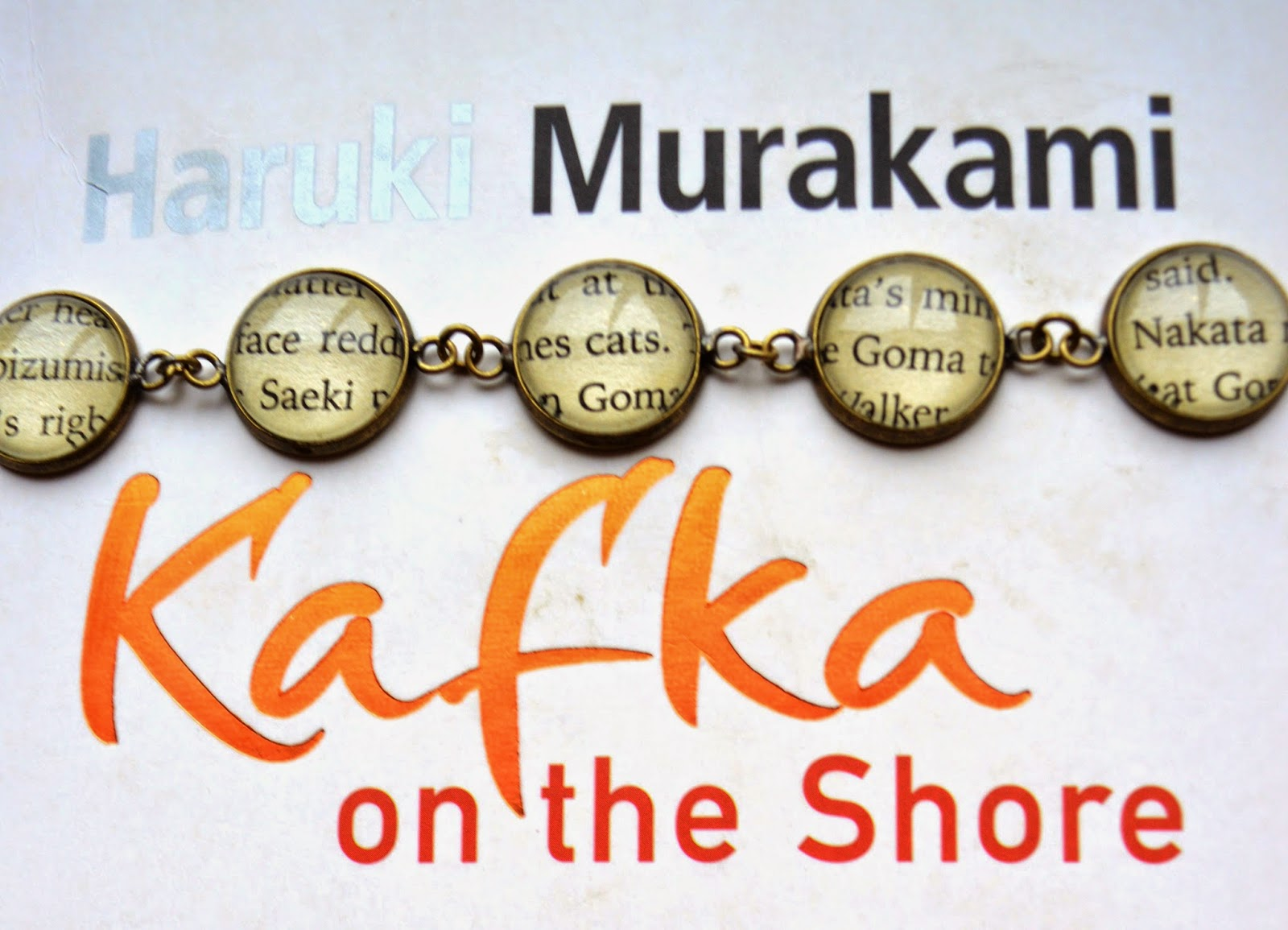 Bookity, Haruki Murakami, jewellery, handmade, gift, present, Christmas, idea, for readers, for book lovers, for bibliophiles, review, picture, bracelet, up-cycled