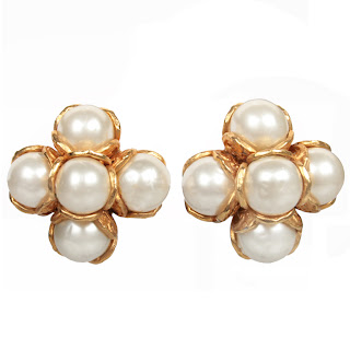 Vintage 1990's pearl cluster Chanel earrings with gold setting.