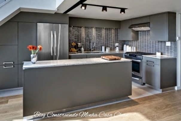 Construindo minha casa clean cozinhas modernas com cinza pequenas e grandes Modern kitchen design trends 2014