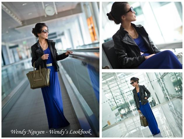 wendy nguyen, wendy's lookbook, vestido azul, vestido longo, vestido com jaqueta de couro, jaqueta de couro, vestido longo com sapatilha, sapatilha khelf, vestido marisa, jaqueta de couro marisa