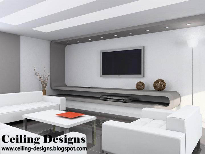 white and gray modern gypsum ceiling for living room with lights