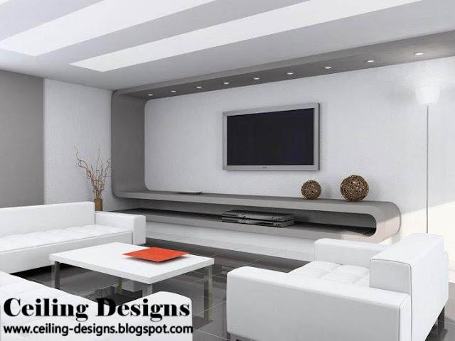 White and gray modern gypsum ceiling for living room for Placoplatre plafond deco