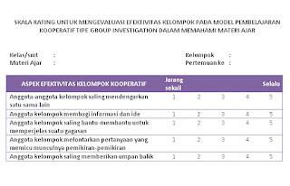 instrumen pengelolaan model pembelajaran kooperatif