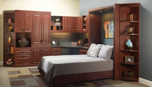 Queen Bed And Desk Combo Configuration Small Room