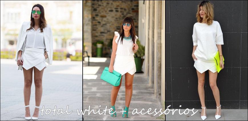 short saia + branco