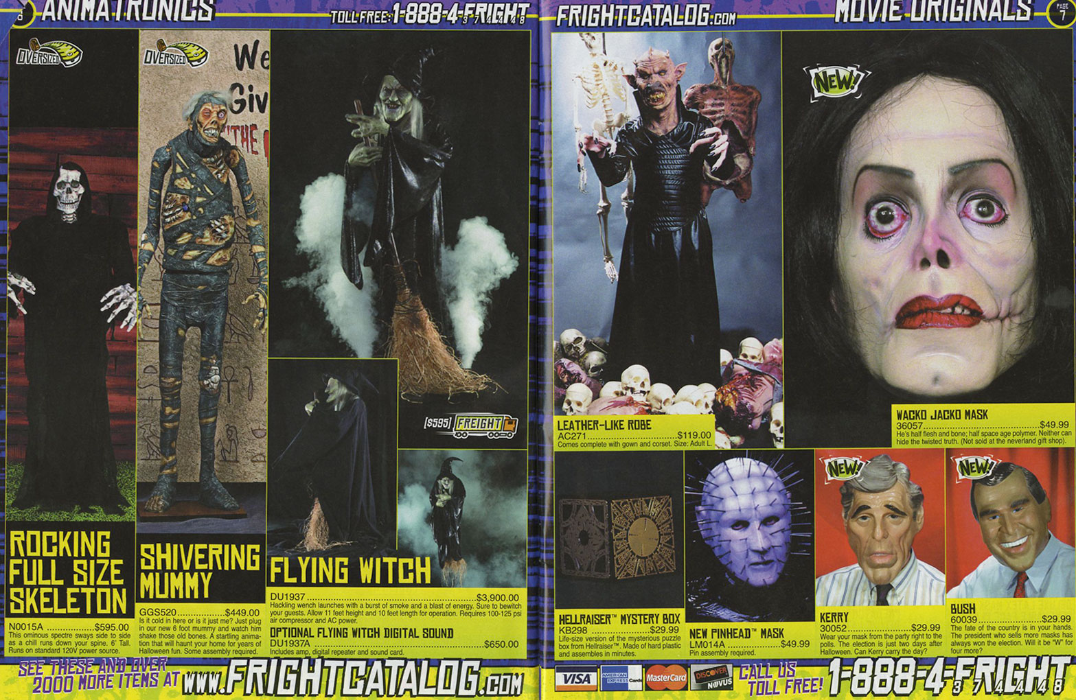 masks of the 2004 halloween outlet fright catalog | haunted october