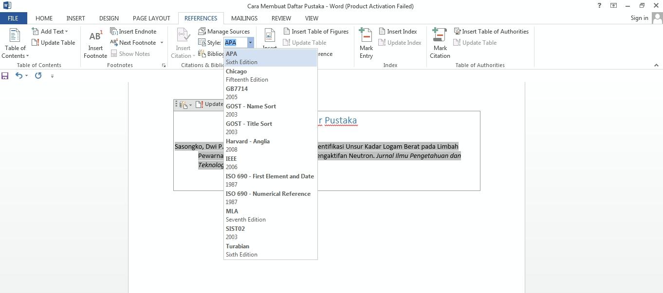 cara membuat daftar pustaka skripsi di word cara membuat
