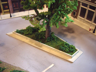 Finished median, complete with ground cover and bushes