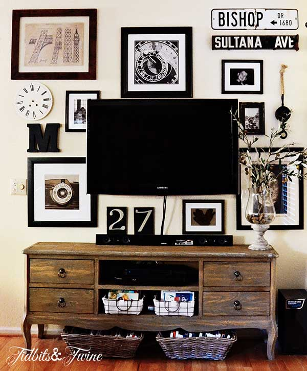 Pictures of wall decor above tv