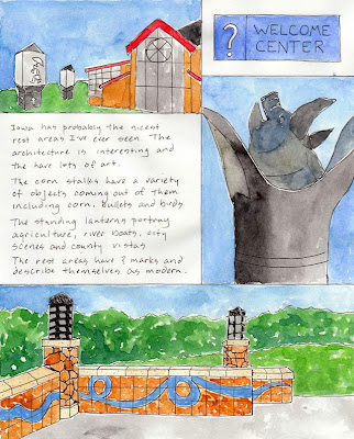 travel journal drawings of the iowa welcome center rest area