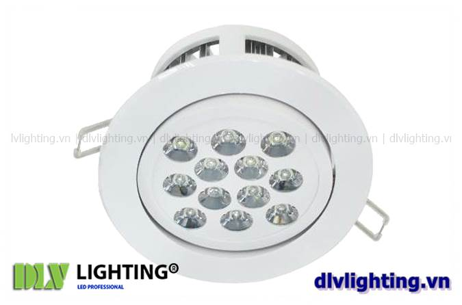 den led downlight am tran chieu roi 12w