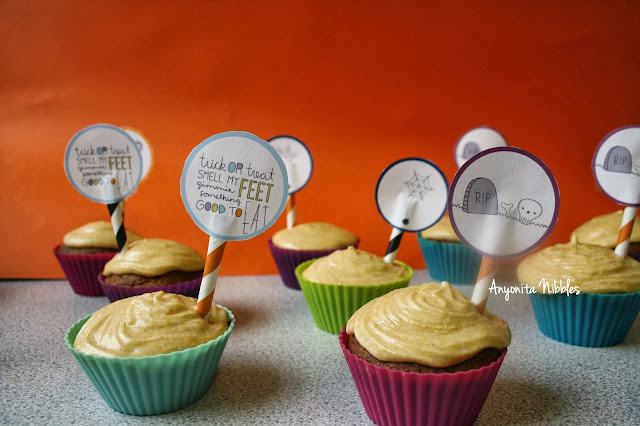 Sticky Toffee Cupcakes for Halloween with Pumpkin Buttercream and Whimsical Cupcake Toppers from www.anyonita-nibbles.com