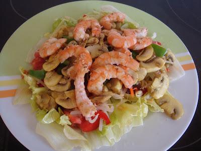 crevettes champignons