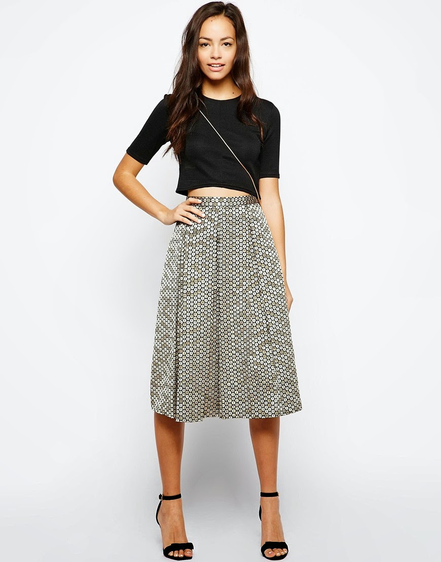 gold patterned midi skirt