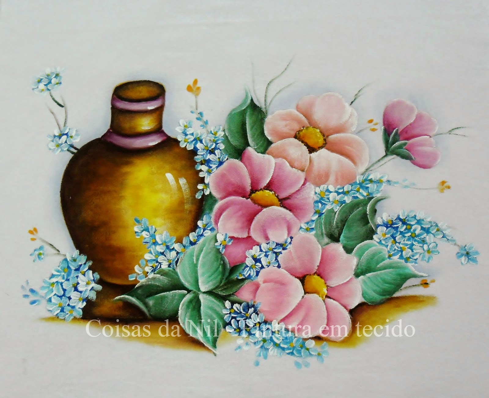 pintura em tecido vaso com flores campanulas