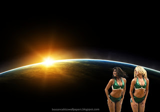 Boston Celtics Posters and Wallpapers of beautiful cheerleaders. Boston Celtics Babes Girls in Space Eclipse background for the fans