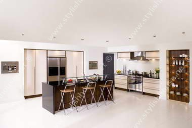 Stylish creamy and black kitchen