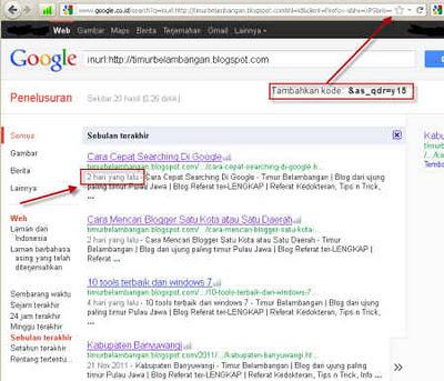 Cara mengetahui tanggal Blog atau Website terindex Google