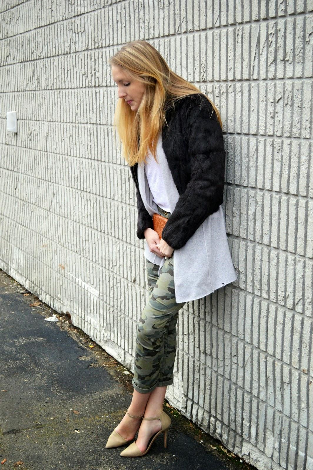 skinny women's camo pants with nude heels and fur jacket