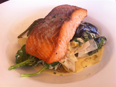 Stitch and Bear - Salmon fillet with mussels and leeks at Electric, Cork