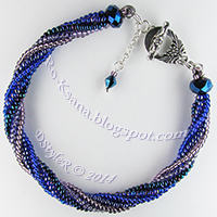 """Night Lights"" Twisted Tubular Herringbone / Ndebele Beaded bracelet  Браслет ""Ночные огоньки"" спиральный жгут ндебеле из бисера"