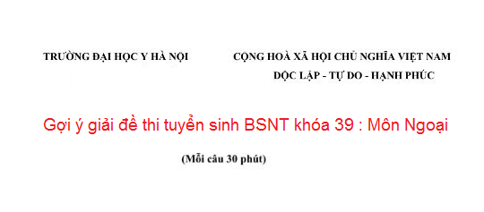 Đề Thi Bác Sĩ Nội Trú Năm 2014 - Môn Ngoại