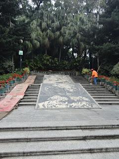 Mosáicos de Os Luisíadas en el parque de Camoes en Macao