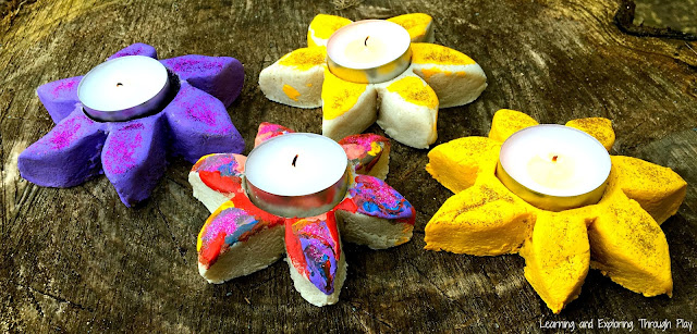Salt Dough Flower Candle Holder - Learning and Exploring Through Play