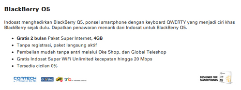 Paket BB Q5 Indosat