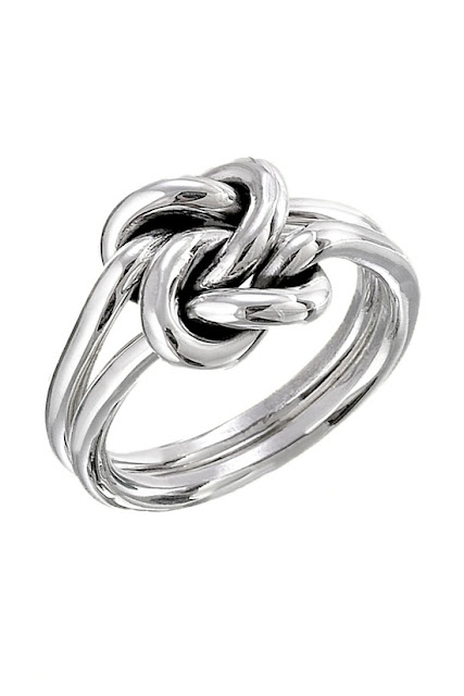 Double knot silver ring for ladies