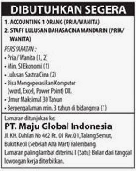 Lowongan Kerja Palembang - PT. Maju Global Indonesia