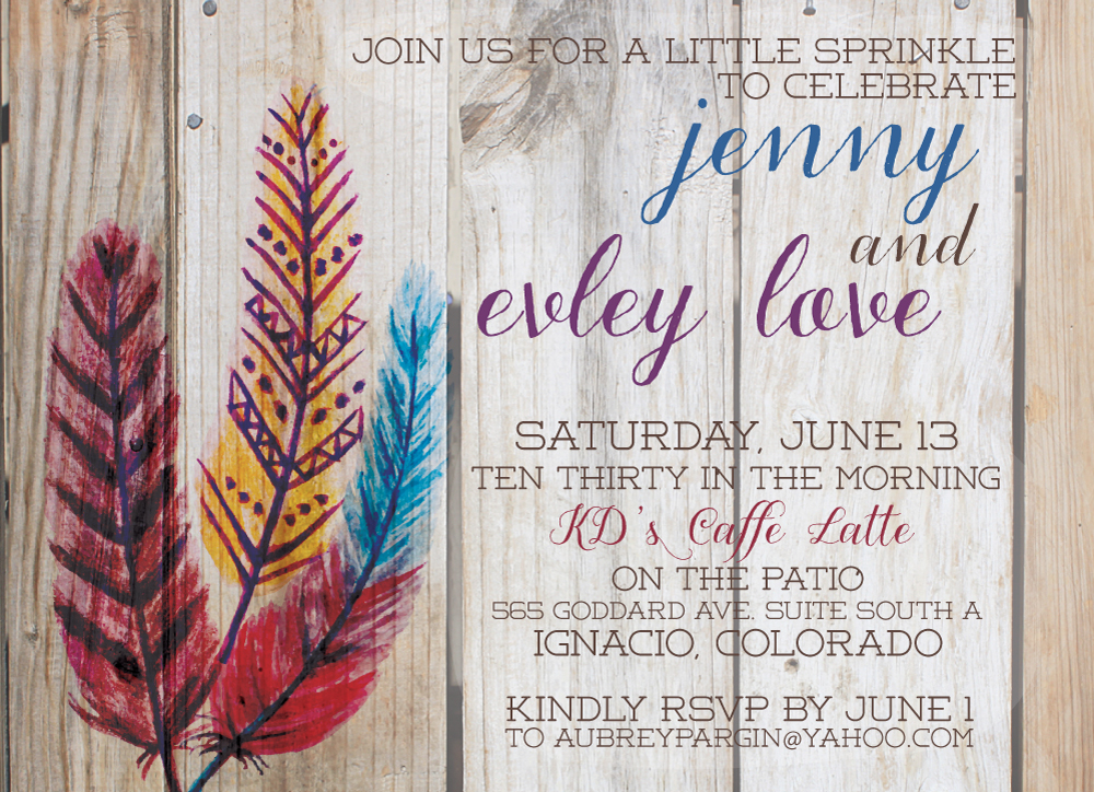 chloe custom design // feather  barnwood baby shower invitations, Baby shower invitation