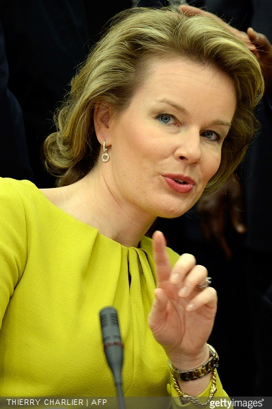 Queen Mathilde of Belgium attends a conference on Ebola on March 3, 2015 in Brussels