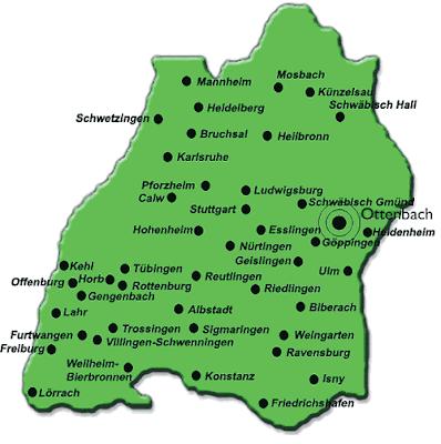Baden-Württemberg Mapa de Ciudades