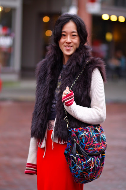 Kathy Wang Red SKirt faux fur vest Ballard Seattle Street Style Fashion it's my darlin'