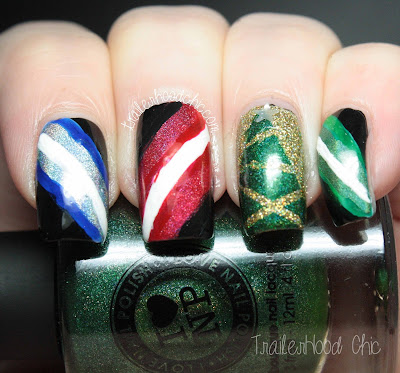 star wars lightsaber christmas tree nails