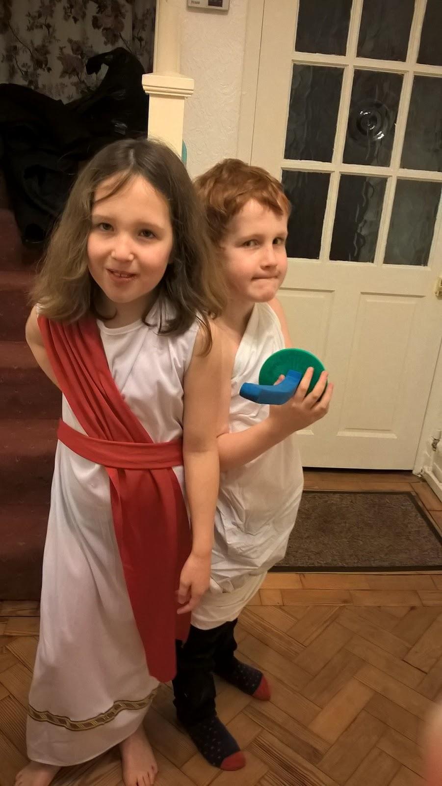 Caitlin & Ieuan in Roman costume - motherdistracted.co.uk