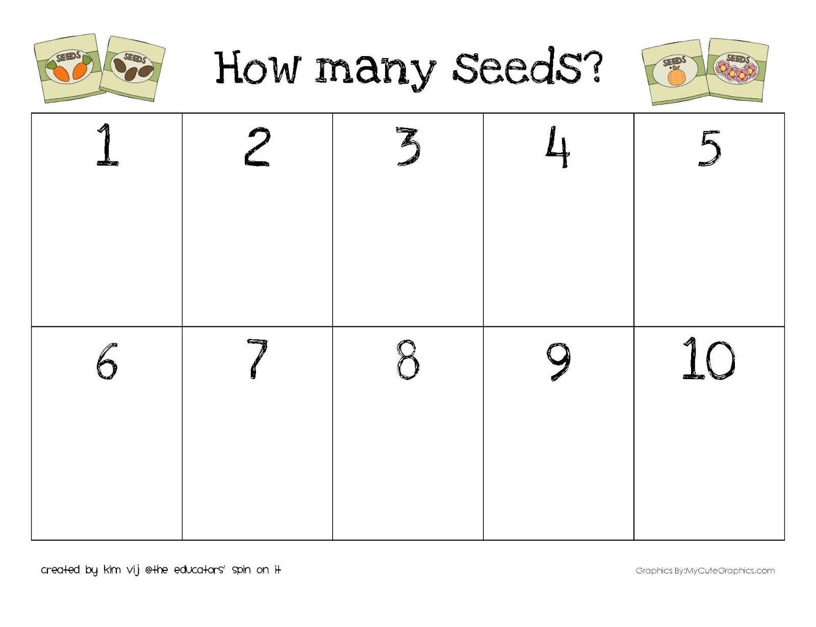The Educators Spin On It Printable Seed Activities