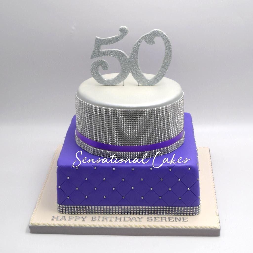 50th Birthday Silver And Purple Theme Customized Cake Singaporecake Purplecake
